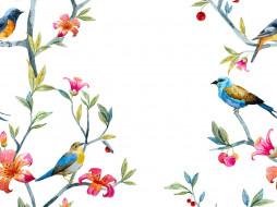 рисованное, животные, птицы, ветки