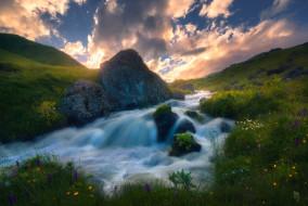 небо, река, поток, скалы, трава, sozel