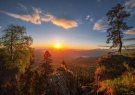Рассвет, Алексей Дранговский, солнце, небо, сосны, плато Лаго-Наки