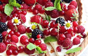 ягоды, малина, пирог, выпечка, смородина, ромашки
