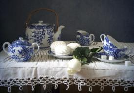 сахар, чашки, роза, зефир, посуда, натюрморт, чайник