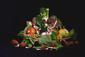 помидоры, горох, овощи, цукини, артишок, чеснок, фенхель, клубника