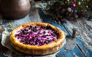 лето, ягоды, пирог, цветы, черника