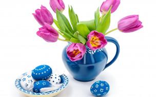 праздничные, пасха, яйца, фон, цветы