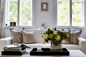диван, ваза, гостиная, цветы, интерьер