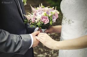 украшение, розы, букет, руки, кольца