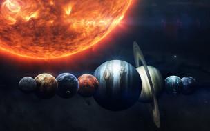 Планеты солнечной системы выстроились в ряд рядом с солнцем