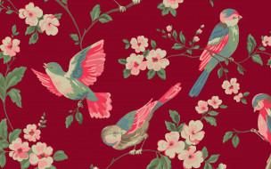 цветы, ветка, птицы