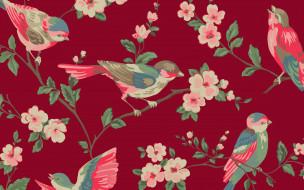 цветы, птицы, ветка
