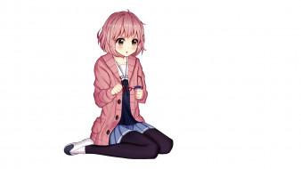 аниме, kyoukai no kanata, фон, взгляд, девушка