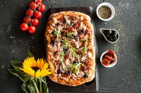 еда, пицца, начинка, зелень, сыр, помидоры