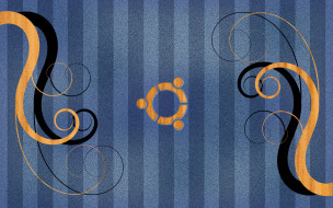 компьютеры, ubuntu linux, логотип, фон