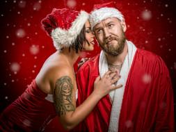 праздничные, дед мороз,  санта клаус, снегурочка, девушка, тату, красный, фон