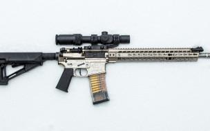 штурмовая винтовка, фон, оружие, снег, оптика