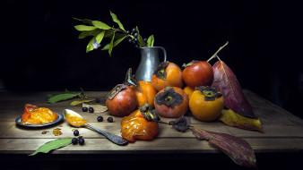 листья, хурма, фрукты