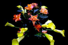 цветы, букеты,  композиции, розы, каллы