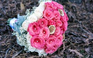 цветы, букеты,  композиции, гипсофила, розы, розовый, белый