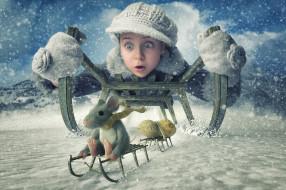 зима, девочка, мышь, снег, арахис, санки