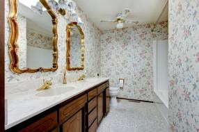 стиль, ванная, дизайн, цветы