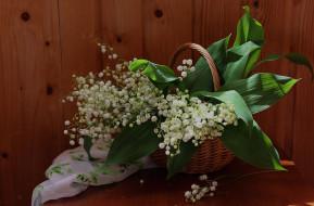 цветы, лето, ландыши, вечер, сирень, свечи