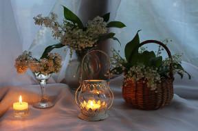 цветы, вечер, сирень, свечи, лето, ландыши