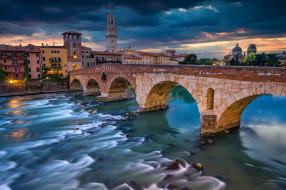 города, верона , италия, верона, река, мост
