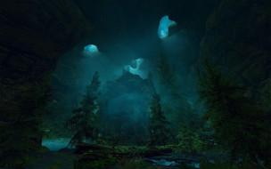 лес, река, сумерки, пещера, вода