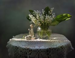 натюрморт, фарфор, фигурка, цветы, весна, девушка, зайчик, май, ландыши