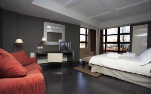 интерьер, спальня, стол, телевизор, диван, кровать, окна, комната