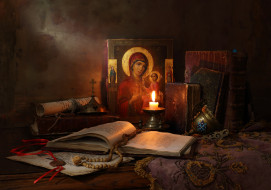 разное, религия, книги, и, свечи, books, and, candle, still, life, with, icon