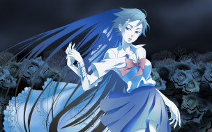 аниме, blood , девушка, розы