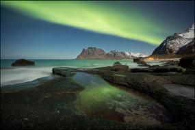 природа, северное сияние, норвегия, северное, сияние, побережье, горы, лофотенские, острова, море