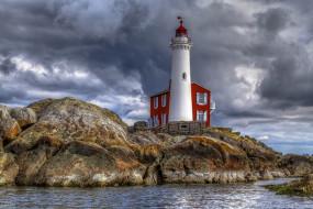 природа, маяки, канада, маяк, море, скалы, британская, колумбия