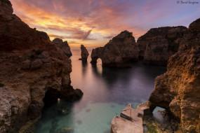 природа, моря, океаны, арка, закат, море, скалы, берег