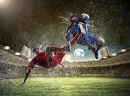 мужчины, двое, брызги, трава, мяч