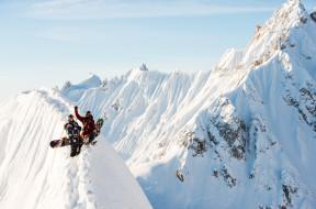 люди, сноуборд, снег, горы