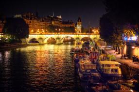 корабли, баржи, река, огни, ночь