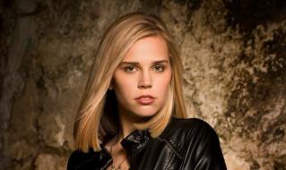 модель, цепочка, блондинка, лицо, куртка