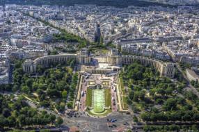 palais de chaillot et jardins du trocadero, города, париж , франция, панорама