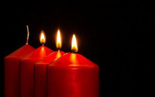 свеча, огонь, черный фон, свечи, пламя