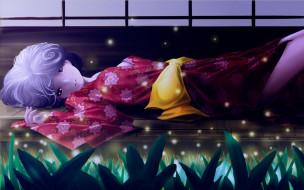 разное, арты, кимоно, девушка, светлячки