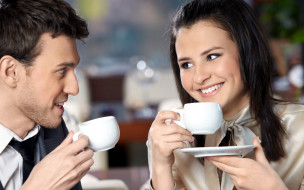 разное, мужчина женщина, улыбки, кофе, пара