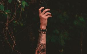 рука, телефон, часы, тату