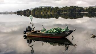 лодка, мотор, отражение, озеро