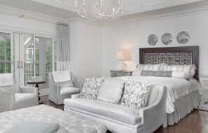 интерьер, спальня, кровать, диван, стиль, дизайн, белый, зеркала, кресла