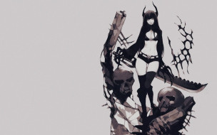 аниме, black rock shooter, девушка