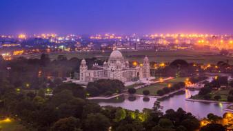 города, - католические соборы,  костелы,  аббатства, индия, западная, бенгалия, огни, мемориал, виктории, калькутта