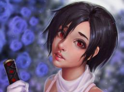 аниме, blood , девушка