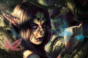 фэнтези, эльфы, растения, взгляд, эльфийка, fantasy, уши, art, шипы