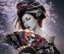 фэнтези, девушки, арт, прическа, заколки, череп, кимоно, гейша, девушка, сакура, reborn, kagero, веер